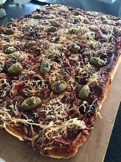 Evelyne JOCHEM Pizza liquide chorizo jambon foret noire